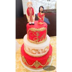 Luxury Indian fusion wedding cake with personalized custom bride & groom cake topper || Cake by SK Confectionery  Visit us: skconfectionery.ca