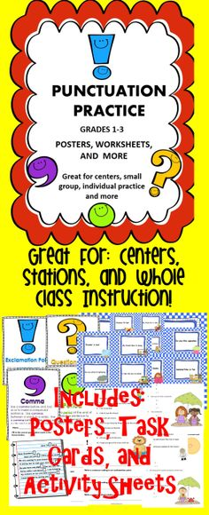 This activity book is filled with punctuation activities for students. These activities can be used in centers, stations, or as a whole class lesson.