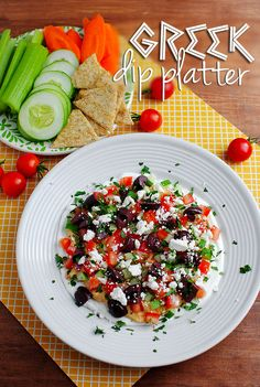 Greek Dip Platter is a light and refreshing appetizer recipe with 7 layers of bold Greek flavors! | iowagirleats.com