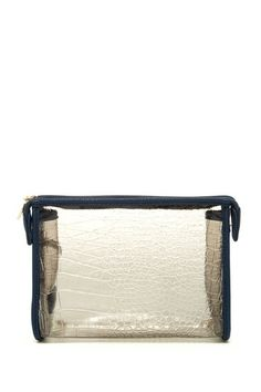 """Mykonos Cosmetic Pouch by Deux Lux  - Zip top closure - Croc embossed translucent construction with solid trim - Dust bag included - Approx. 7"""" H x 8.5"""" W x 2"""" D - Imported Materials All manmade materials $45"""