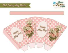 glenda's World : Pink Fantasy May Basket Printable Recipe Cards, Free Printable Calendar, Easter Printables, Free Printables, May Baskets, Basket Labels, Gift Card Boxes, How To Fold Notes, Thanksgiving Traditions