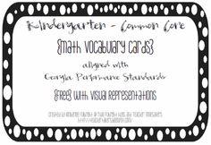 Kindergarten Math Vocab. Cards: Common Core