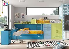 Habitación infantil con 3 camas tipo tren.