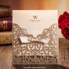 Convites de casamento Cartões de convite Embrulhado e de Bolso Personalizado 20 Peça/Conjunto/50 Peça/Conjunto de 2015 por R$114,26