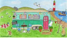 New whimsical caravan painting - Home is where you park it!  Available as prints, mugs and magnets