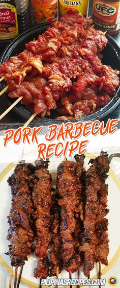 For making this Pork Barbecue Recipe, Pork should be marinated in soy sauce, crushed garlic, calamansi juice, black pepper, brown sugar, banana ketchup, and a can of Sprite or 7-Up. Refrigerate for at least one hour or up to overnight. #Barbecue #Barbeque #Pork #PilipinasRecipes
