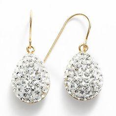 14k Gold-Bonded Sterling Silver Crystal Teardrop Earrings