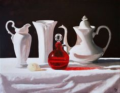 Buy The Cranberry Glass Cravat, Oil painting by Gray Jacobik on Artfinder. Discover thousands of other original paintings, prints, sculptures and photography from independent artists. Ceramic Pitcher, Ceramic Teapots, Realistic Paintings, Original Paintings, Deep Silver, Cranberry Glass, Cravat, Still Life Art, Red Glass