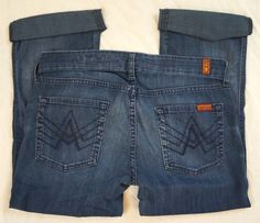 """7 For All Mankind """"A"""" Pocket Capri Cozumel Wash Womens Jeans Size 29 (P22#747) #7ForAllMankind #CapriCropped"""