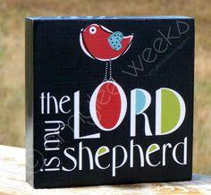Scripture Art Psalm 23 the LORD is my Shepherd by amyleeweeks