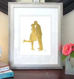Silhouette Portrait, Wedding Gift, Gold Foil Print, Custom Silhouette Art, Mothers Day Gift
