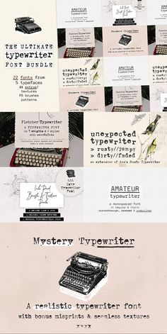The Ultimate Typewriter Font Bundle by Ana's Fonts on @creativemarket  It includes all types of typewriter fonts: from sans to serif, from very legible to grungy, from hand-drawn to realistic.  Use this set in any designs that needs a vintage touch. Use it in long or short texts, in digital collages, branding and packaging, social media posts, logotypes, etc. #typewriter #typewriterfont #fontbundles #affiliatelink #creativemarket