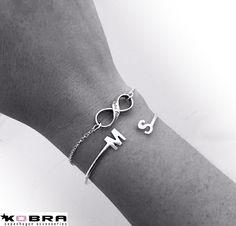 Håndlavet armbånd / armlet i sterling sølv med dine initialer / bogstaver