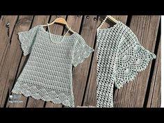 como tejer a crochet blusa elegante ligera y muy facil de realizar - YouTube Baby Girl Dresses, Crochet Fashion, Beautiful Crochet, Handmade Crafts, Knit Crochet, Crochet Patterns, Cover Up, Knitting, Outfits