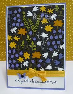 STAMPIN' UP! BACK TO BLACK DSP, COLOURED WITH BLENDABILITIES