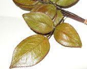 Olive Green Rust Vintage Millinery Rose Flower Leaves -Fascinator -Hat Trim -Bridal -Floral Supplies