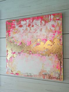 Abstract painting pink and gold by katherinelewis13 on Etsy
