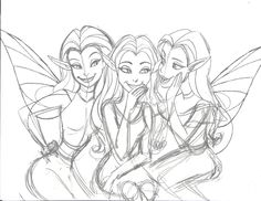 Twisted Fairies telling secrets - rough sketch. Fairies are fond of gossip, so if you want your secret to remain that way, never tell a Fairy.