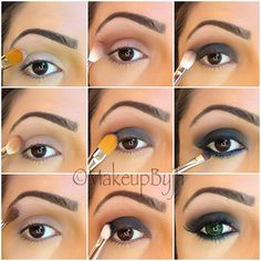 """Pictutorial on previous look (smokey eye) 1- start by applying Mac paint pot """" painterly"""" as ur shadow base. 2-Apply Mac """"saddle"""" on lis, crease and a lil bit over your crease. 3-Apply Mac """"vanilla"""" on brow bone. 4-Apply Mac """"brownscript """" on your crease. 5-Apply Mac fluid line """"blacktrack"""" on your lid ( this will make the dark eyeshadow more intense/dark) 6-Apply Mac """"carbon"""" on lid. 7-With a blending brush ( Mac 217"""" grab some """"carbon"""" eye shadow and apply on crease blending very well…"""