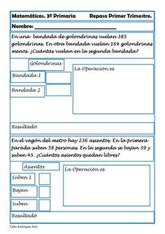 Fichas de matemáticas para Tercero de Primaria