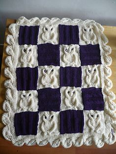 Cable Owl Blanket Squares, free knitting pattern by Ruth Burchardt