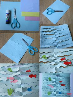 collage: the sea - Anne Volperi - - Collage la mer collage: the sea … Sea Crafts, Diy And Crafts, Arts And Crafts, Paper Crafts, 3d Collage, Diy For Kids, Crafts For Kids, Animal Crafts, Summer Crafts