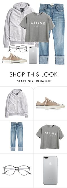 """""""B&W Simple Days"""" by alexandra-provenzano ❤ liked on Polyvore featuring H&M, Converse, Current/Elliott and Chicnova Fashion"""