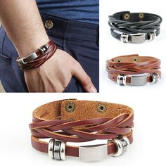 2016 New arrival high quality brown and black leather wrap bracelet for men male jewelry cool stainless steel bracelet