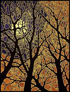 On my list to get a print of this beautiful painting! MoonScape IV - by Charl. - On my list to get a print of this beautiful painting! MoonScape IV – by Charles Heath - Batik Art, Art Et Illustration, Art Illustrations, Art Graphique, Silk Painting, Gravure, Tree Art, Painting Inspiration, Art Lessons