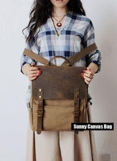 Khaki Genuine Cow Leather Canvas Backpack -Leather Canvas Bag - Camera Bag / DSLR Camera Bag Insert / Laptop Bag 10002