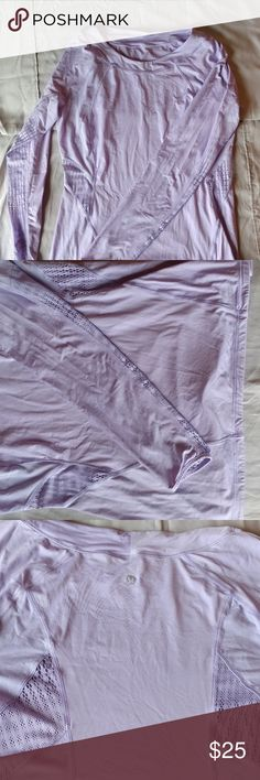 Lululemon size 10 long sleeve shirt Lululemon size 10 light purple long sleeve active top, used and in good condition lululemon athletica Tops Tees - Long Sleeve