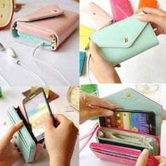 Envelope Wallet Case Purse Samsung Galaxy S2 S3 Iphone 4S 5C 5S Phone Bags