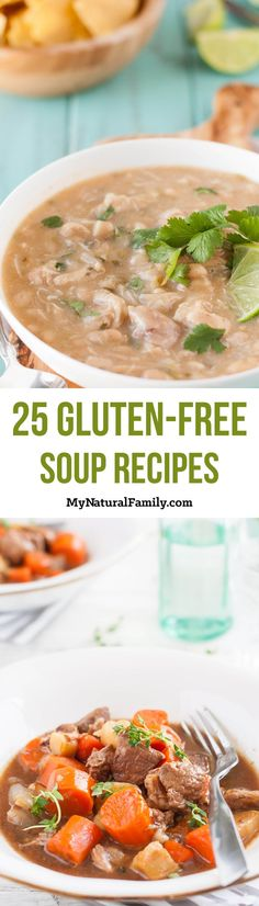 The Best Gluten-Free Soup Recipes - My Natural Family Gluten Free Soup, Gluten Free Recipes For Dinner, Sugar Free Recipes, Gf Recipes, Foods With Gluten, Gluten Free Cooking, Soup Recipes, Healthy Recipes, Dairy Free