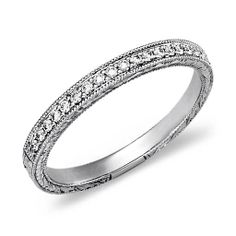 Engraved Micropavé Diamond Ring in 18k White Gold (1/5 ct. tw.) #PinToWin #BeMine #ValentinesDay #BlueNile #Sweepstakes #Giveaway