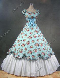 Southern Belle Civil War Cotton Flax Gown Dress 273 M Old Fashion Dresses, Old Dresses, Pretty Dresses, Vintage Gowns, Vintage Outfits, Vintage Clothing, Southern Belle Dress, Civil War Fashion, Civil War Dress
