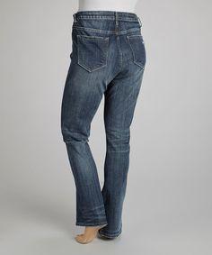 Look what I found on #zulily! Dark Wash Destructed Straight-Leg Jeans - Plus by Vigoss #zulilyfinds