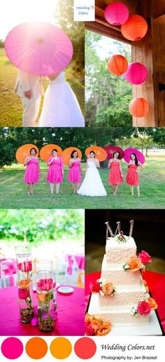 Hot Pink and Orange Wedding Palette...Don't forget orange and pink personalized napkins! #itsallinthedetails www.napkinspersonalized.com