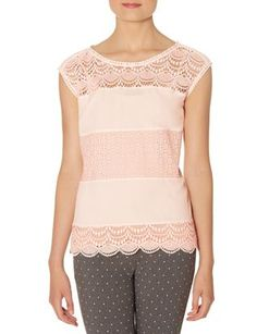 Crochet Lace Mixed Media Shell from THELIMITED.com #TheLimited #Lace #Blush #Feminine #LayerUp #Sophisticated #Professional #LadyLike #LTDTalls #PerfectlyProportioned #Talls