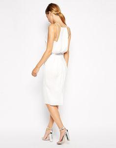 Image 2 ofASOS Holographic Belted Midi Pencil Dress