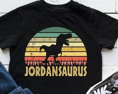 Dinosaur Shirt for Kids Personalized by KidsPartyWorks Kids Birthday Gifts, Dinosaur Birthday Party, Party Outfits, Boy Outfits, Dinosaur Shirt, Party Ideas, Gift Ideas, 3 Kids, Party Shop