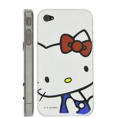 Hello Kitty Hard Plastic Case With Transparent Side Design For iPhone 4 and 4S WHITE