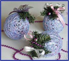 новогодние шары из ниток и клея своими руками, фото