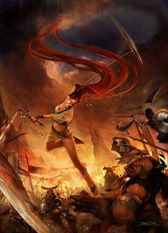View an image titled 'Nariko Battle Promotional Art' in our Heavenly Sword art gallery featuring official character designs, concept art, and promo pictures. Fantasy Warrior, Fantasy Art, Fantasy Comics, Fantasy Women, Heavenly Sword, Video Game Art, Sword Art, Illustrators, Concept Art