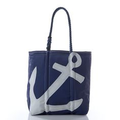Medium White on Navy Anchor Tote - Handcrafted from Recycled Sails.