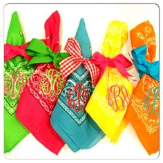 Monogram bandana napkins. These would look wonderful on a picnic.