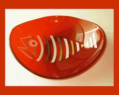 Something FishyMod Orange Mid Century Glass by VdeB on Etsy, $48.00