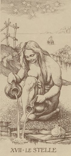 This is how overpopulation destroyed the purity of our water - the original occultists thought thought pouring dirty into clean would purify the dirty but the dirty eventually gains strength with numbers which is why this card actually represents pollution.  XVII. The Star: Dürer Tarot
