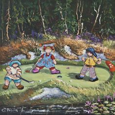 Mini golf is always fun with the kids. Artwork by Pauline Paquin. Childhood Memories, Original Paintings, Kids Artwork, Golf, Photography, Fictional Characters, Image, Mini, Poster Board Ideas
