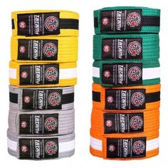 All colours in sizes and of Kids BJJ Belts by Tatami for Brazilian Jiu Jitsu * Call us today on 0117 9425832 * Same day dispatch before * Yellow Belt, Green Belt, White Belt, Kids Bjj, Martial Arts Belts, Jiu Jitsu Training, Brazilian Jiu Jitsu, All The Colors, Colours