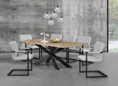 Tisch in edlem und zeitlosem Eiche-Design + Designstuhl im 6er-Set - 86,5 x 60cm - elfenbeinweiß